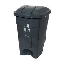 Waste container with pedals, plastic, grey, 70 litre