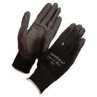 WeCare® PU-Tech work glove, black, size 9/LARGE