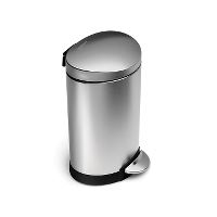 Garbage can, stainles steel, w/pedal, 6 L