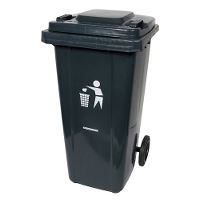 Waste container w/wheels, plastic, grey, 120 litre