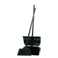 Dan-Mop® Dustpan with lid and broom, black, assembled