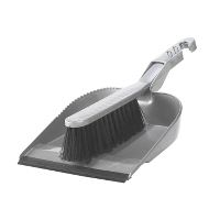 Broom w/Dustpan and Rubber Strip, grey