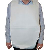 Adult mealtime protection/bib with pocket, white, 37 x 70 cm, pack of 100