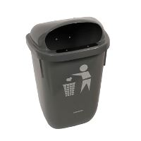 Garbage can, wall mounted, grey, 50 Ls