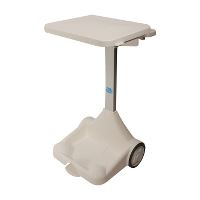Waste system w/pedal/lid,  white, 100/120 L