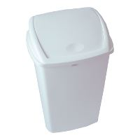Bin with swing lid, 50 L, White, 75x40x30cm, plactic