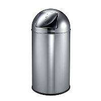 WeCare® Push bin, stainless steel w/glossy finish, 40 L
