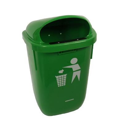 Garbage can, wall mounted, green, 50 Ls