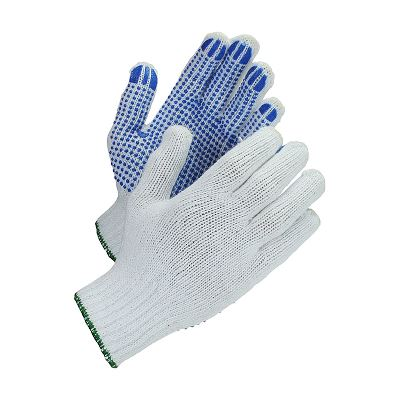WeCare® PVC-dotted work glove, white/blue, size 9/L